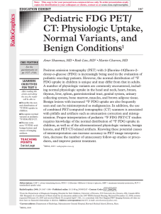 Pediatric FDG PET/CT: Physiologic Uptake, Normal Variants, and