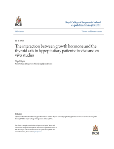 The interaction between growth hormone and the thyroid axis in