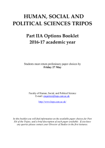 HUMAN, SOCIAL AND POLITICAL SCIENCES TRIPOS