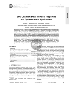 ZnO Quantum Dots: Physical Properties and Optoelectronic