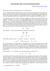 The principle effect of gravitational potential