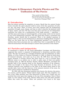 Chapter 6: Elementary Particle Physics and The Unification of The