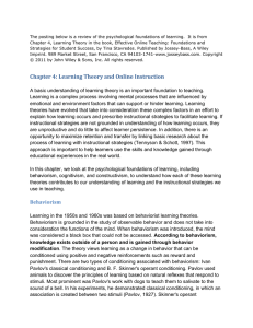 Chapter 4: Learning Theory and Online Instruction