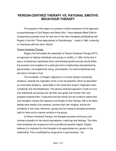 person-centred therapy vs. rational emotive behaviour