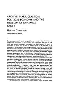 ARCHIVE: MARX, CLASSICAL POLITICAL ECONOMY AND THE