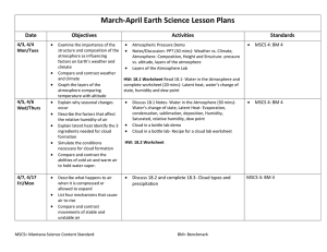 March-April Earth Science Lesson Plans Date Objectives Activities