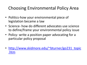 Choosing Environmental Policy Area