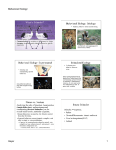 Behavioral Biology: Ethology