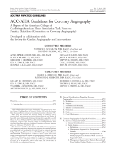 ACC/AHA Guidelines for Coronary Angiography
