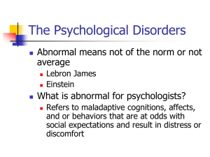 The Psychological Disorders