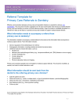 Referral Template for Primary Care Referrals to Dentistry