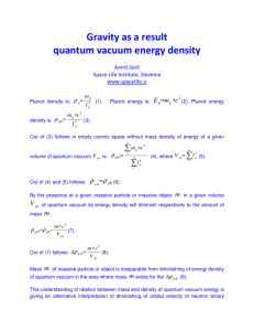 Gravity as a result quantum vacuum energy density
