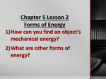 Mechanical Energy - Miss Burnett`s 6th grade Classroom