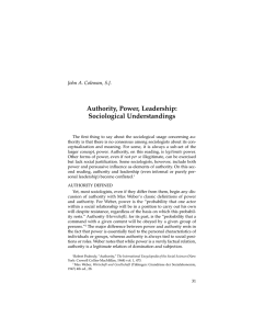 Authority, Power, Leadership: Sociological Understandings