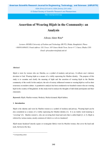 Assertion of Wearing Hijab in the Community: an Analysis