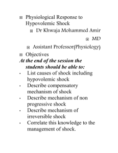 Sympathetic reflex compensations in shock