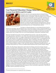 Can Financial Education Change Behavior?