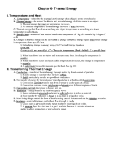 Chapter 6- Thermal Energy