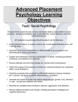 Advanced Placement Psychology Learning Objectives
