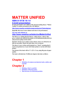 matter unified - Swedish Association for New Physics