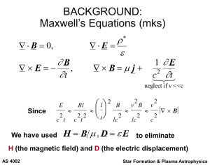 BACKGROUND: Maxwell`s Equations (mks)
