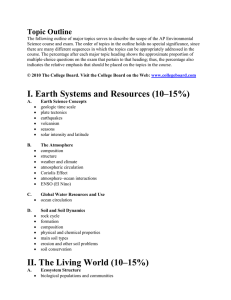 I. Earth Systems and Resources (10–15%)