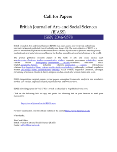 Call for Papers British Journal of Arts and Social Sciences (BJASS