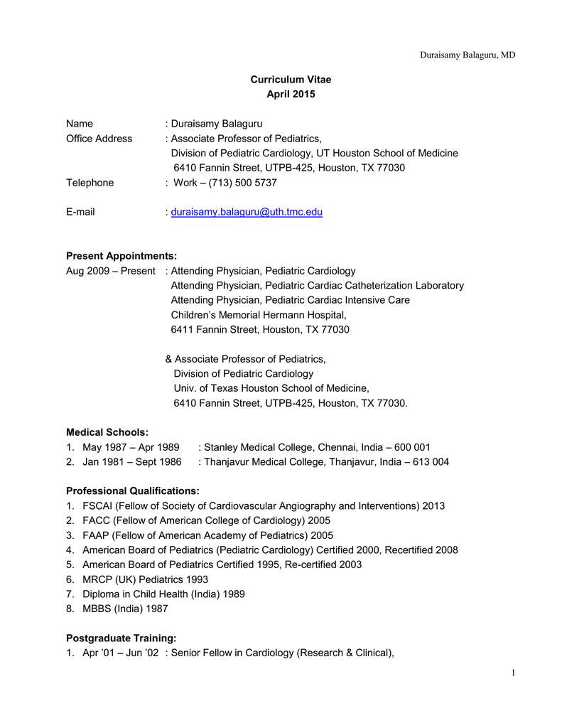 Curriculum Vitae - McGovern Medical School