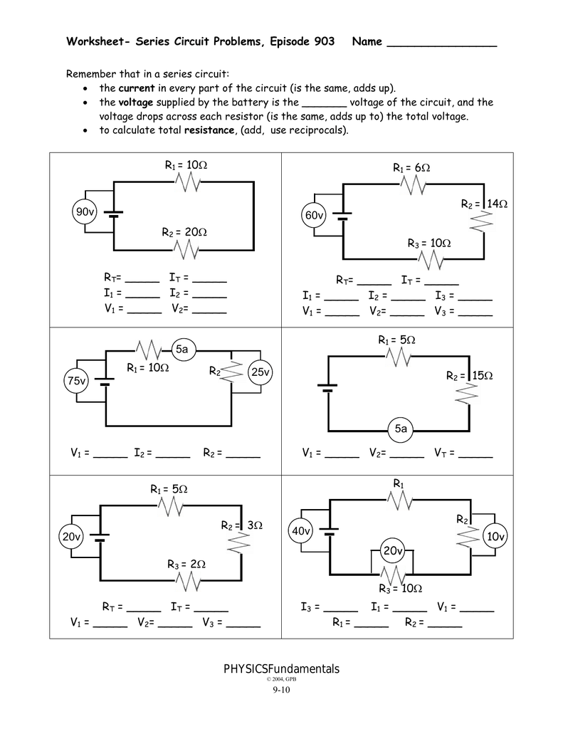 9-10 - Worksheet - Series Circuit Problems