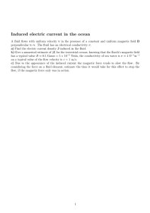 Induced electric current in the ocean
