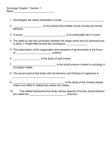 Sociology Chapter 1 Section 1