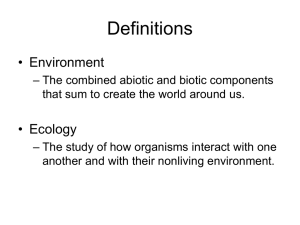 evs 195 introduction to environmental studies tr 9:30