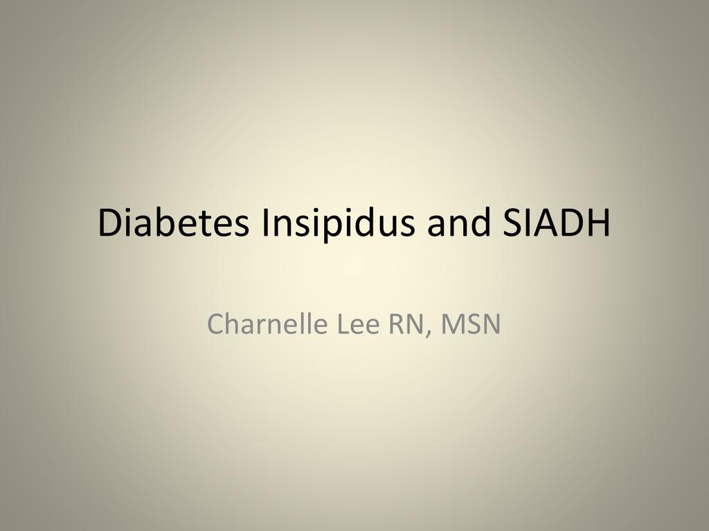 diabetes versus siadh