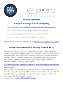 Become a Member European Sociological Association (ESA)