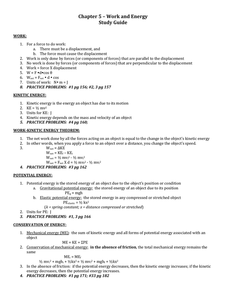 Chapter 5 – Work and Energy Study Guide