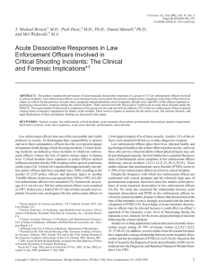 Acute Dissociative Responses in Law Enforcement Officers Involved