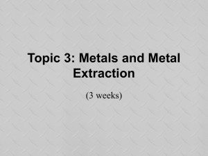 Topic 3: Metals and Metal Extraction
