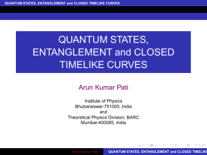 QUANTUM STATES, ENTANGLEMENT and CLOSED TIMELIKE