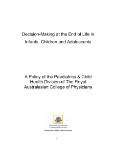 Decision-Making at the End of Life in Infants, Children and