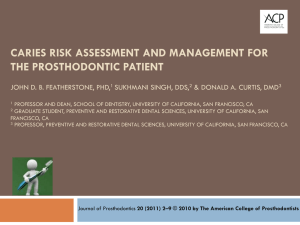 caries risk assessment and management for the prosthodontic patient