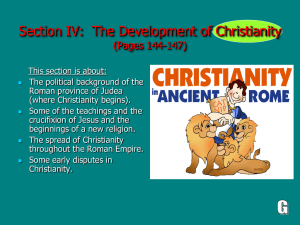 (Section IV): The Development of Christianity