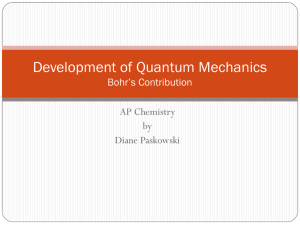 Development of Quantum Mechanics Bohr*s Contribution