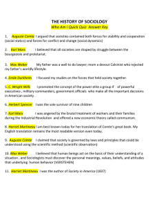 THE HISTORY OF SOCIOLOGY Who Am I Quick Quiz Answer Key 1