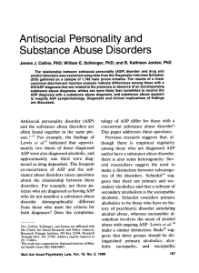 Antisocial Personality and Substance Abuse Disorders