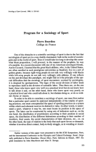 Program for a Sociology of Sport - American Kinesiology Association