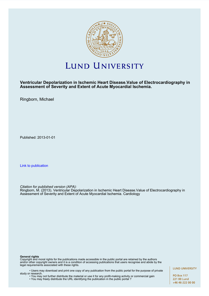 Ventricular Depolarization - Lund University Publications