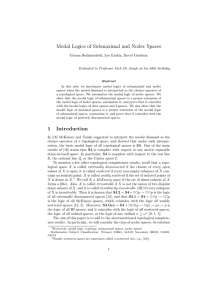 Modal Logics of Submaximal and Nodec Spaces 1 Introduction