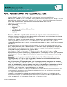 ADULT ADHD SUMMARY AND RECOMMENDATIONS