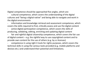Digital Competence should be approached five angles, which