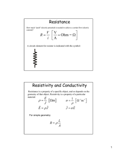 Resistance Resistivity and Conductivity